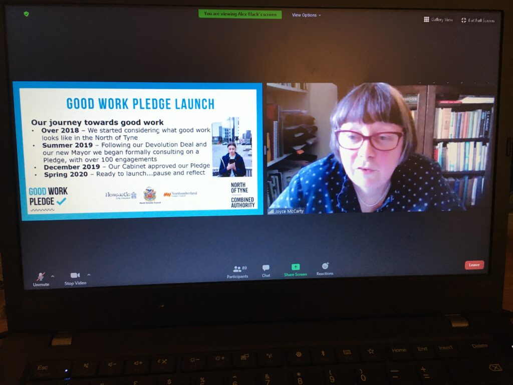 A screenshot of Cllr Joyce McCarty speaking at the Good Work Pledge launch.